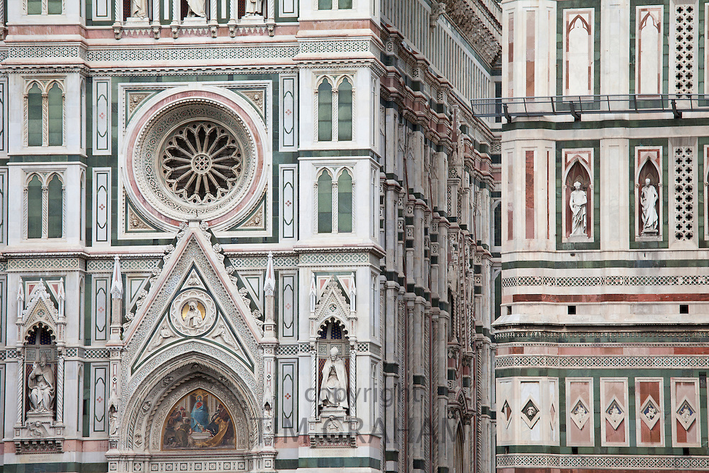 Il Duomo di Firenze, Cathedral of Florence, and campanile bell tower in Piazza di San Giovanni, Tuscany, Italy