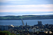 View over the city centre and the River Tay bridge and estuary, Dundee, Scotland