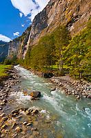 Stream and waterfall, Lauterbrunnen Valley, Canton Bern, Switzerland