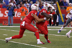 NORMAL, IL - September 08: Brady Davis hands off to Markel Smith during 107th Mid-America Classic college football game between the ISU (Illinois State University) Redbirds and the Eastern Illinois Panthers on September 08 2018 at Hancock Stadium in Normal, IL. (Photo by Alan Look)
