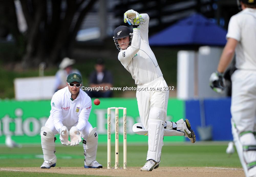 Brendon McCullum batting as Mark Boucher looks on. Third Test, Day 4. New Zealand Black Caps versus South Africa Proteas, Basin Reserve, Wellington, New Zealand. Monday 26 March 2012. Photo: Andrew Cornaga/Photosport.co.nz