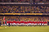 British and Irish Lions team stand for the national anthems during the second test between the DHL Australian Wallabies vs HSBC British And Irish Lions at Etihad Stadium, Melbourne, Victoria, Australia. 29/06/0213. Photo By Lucas Wroe