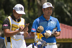 February 3, 2018 - Shah Alam, Kuala Lumpur, Malaysia - Hideto Tanihara is seen with his caddie on day 3 at the Maybank Championship 2018...The Maybank Championship 2018 golf event is being hosted on 1st to 4th February at Saujana Golf & Country Club. (Credit Image: © Faris Hadziq/SOPA via ZUMA Wire)