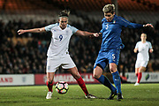 The best chance of the half falls to Jodie Taylor (England) (Arsenal) in the final seconds of the first half as she controls the ball, turns and gets a shot away. But it is saved by Katja Schroffenegger (Italy) (Unterland Damen) in the Italy goal during the Women's International Friendly match between England Ladies and Italy Women at Vale Park, Burslem, England on 7 April 2017. Photo by Mark P Doherty.