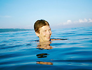 Nicole Schmidt swimming at Jimbaran Beach, in front of Keraton Bali Resort.