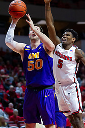 NORMAL, IL - December 31: Austin Phyfe takes a position advantage on Keith Fisher III during a college basketball game between the ISU Redbirds and the University of Northern Iowa Panthers on December 31 2019 at Redbird Arena in Normal, IL. (Photo by Alan Look)