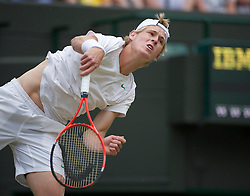LONDON, ENGLAND - Saturday, July 2, 2011: Luke Saville (AUS) in action during the Boys' Singles Final on day twelve of the Wimbledon Lawn Tennis Championships at the All England Lawn Tennis and Croquet Club. (Pic by David Rawcliffe/Propaganda)