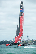Emirates Team New Zealand practicing and testing with their AC50 on the Hauraki Gulf, Auckland, New Zealand.