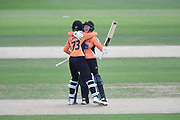 Paige Scholfield and Amanda-Jade Wellington of Southern Vipers celebrate winning the match the Kia Women's Cricket Super League semi-final match between Loughborough Lightning and Southern Vipers at the 1st Central County Ground, Hove, United Kingdom on 1 September 2019.