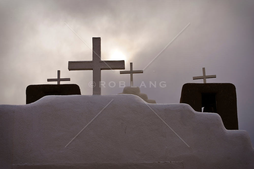church rooftop crosses in New Mexico
