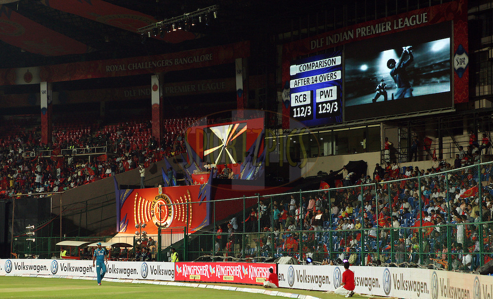 General view of the big screen showing comparative scores during match 21 of the the Indian Premier League ( IPL) 2012  between The Royal Challengers Bangalore and the Pune Warriors India held at the M. Chinnaswamy Stadium, Bengaluru on the 17th April 2012..Photo by Jacques Rossouw/IPL/SPORTZPICS