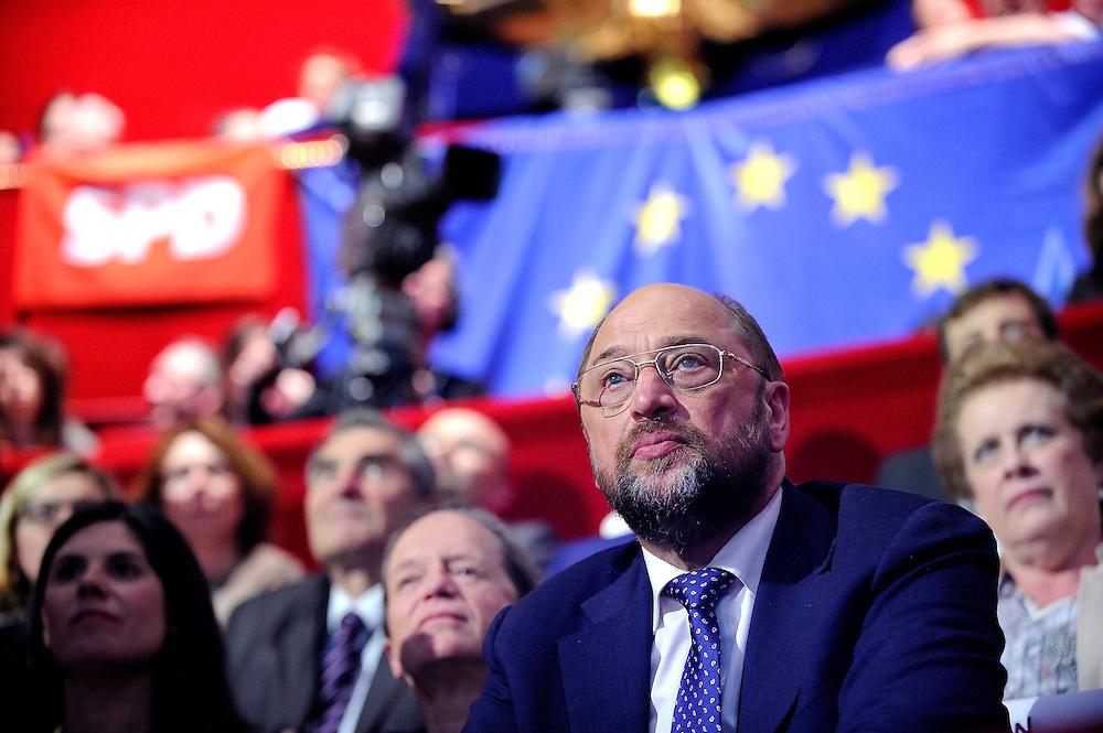 Martin Schulz candidat du parti socialiste européen lors du lancement de sa campagne aux élections Européenne, le 17 avril 2014 au Cirque d'Hiver.