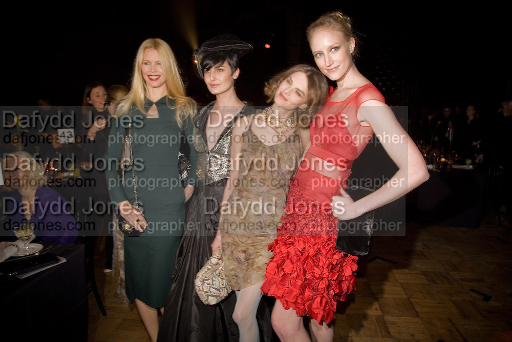 CLAUDIA SCHIFFER; ERIN O'CONNOR; ANOUK LEPERE; JADE PARFITT; , British Fashion Awards Ceremony. Supported by Swarovski and organised by British Fashion Council. Lawrence Hall. Greycoat St. London SW1. 25 November 2008 *** Local Caption *** -DO NOT ARCHIVE-© Copyright Photograph by Dafydd Jones. 248 Clapham Rd. London SW9 0PZ. Tel 0207 820 0771. www.dafjones.com.