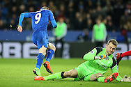 Jamie Vardy of Leicester City (left) turns away from Simon Mignolet of Liverpool (right) after scoring during the Premier League match at the King Power Stadium, Leicester<br /> Picture by Andy Kearns/Focus Images Ltd 0781 864 4264<br /> 27/02/2017