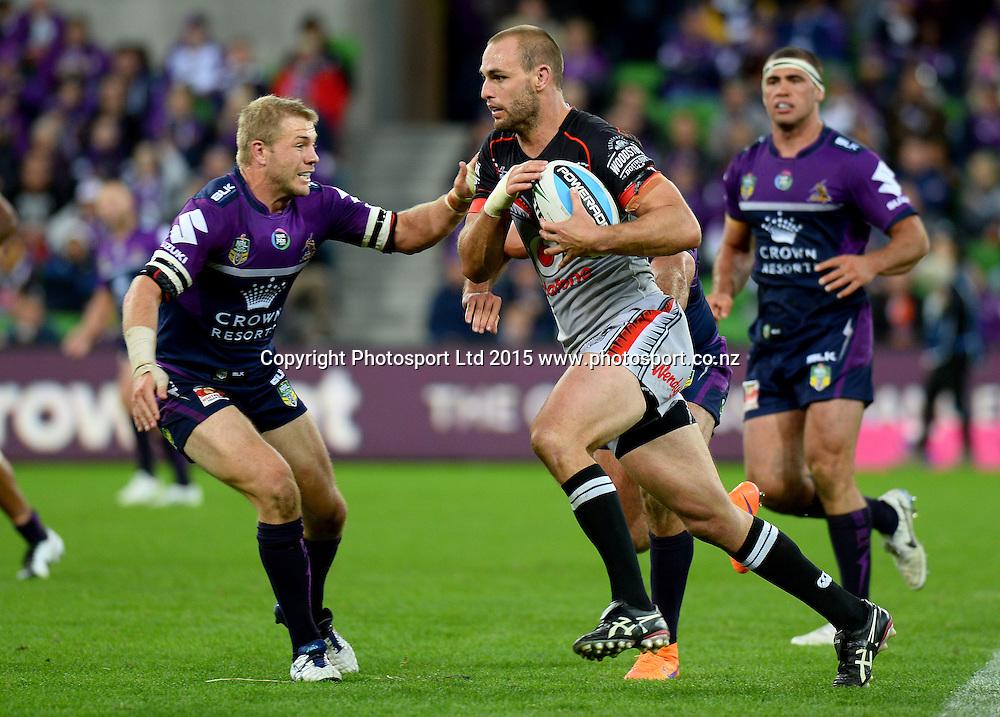 Simon Mannering (NZ)<br /> NZ Warriors vs Melbourne Storm<br /> NRL - 2015 National Rugby League<br /> AAMI Park Melbourne Victoria<br /> Monday 6 April 2015<br /> &copy;www.photosport.co.nz / Jeff Crow