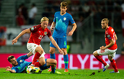 Domen Črnigoj of Slovenia vs Xaver Schlager of Austria during the 2020 UEFA European Championships group G qualifying match between Austria and Slovenia at Wörthersee Stadion on June 7, 2019 in Klagenfurt, Austria. Photo by Vid Ponikvar / Sportida