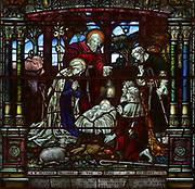 Nativity, stained glass window, 1910, made by Clayton and Bell of London, given in memory of Sir Henri-Gustave Joly de Lotbiniere and his wife Margaretta Josepha Gowen, in the Cathedrale de la Sainte Trinite, or Holy Trinity Cathedral, an Anglican cathedral built 1800-04 in neoclassical Palladian style by William Robe and William Hall, in Quebec City, Quebec, Canada. The cathedral is listed as a National Historic Site of Canada, and the Historic District of Old Quebec is listed as a UNESCO World Heritage Site. Picture by Manuel Cohen