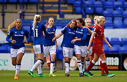 BIRKENHEAD, ENGLAND - Sunday, April 29, 2018: Everton's Jodie Brett (centre) celebrates scoring the first equalising goal during the FA Women's Super League 1 match between Liverpool FC Ladies and Everton FC Ladies at Prenton Park. (Pic by David Rawcliffe/Propaganda)