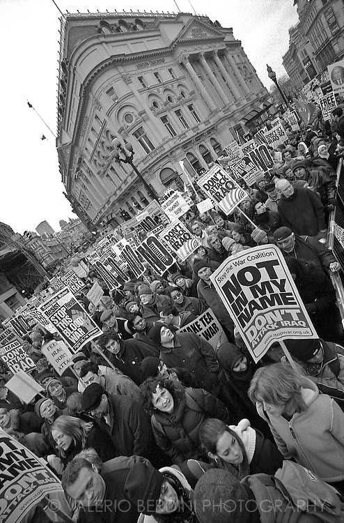 Not in My Name. 2 millions people march in central London to prevent the attack on Iraq. Piccadilly Circus. 15/02/2003