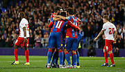 Palace celebrate taking the lead during the Capital One Cup match between Crystal Palace and Charlton Athletic at Selhurst Park, London, England on 23 September 2015. Photo by Michael Hulf.