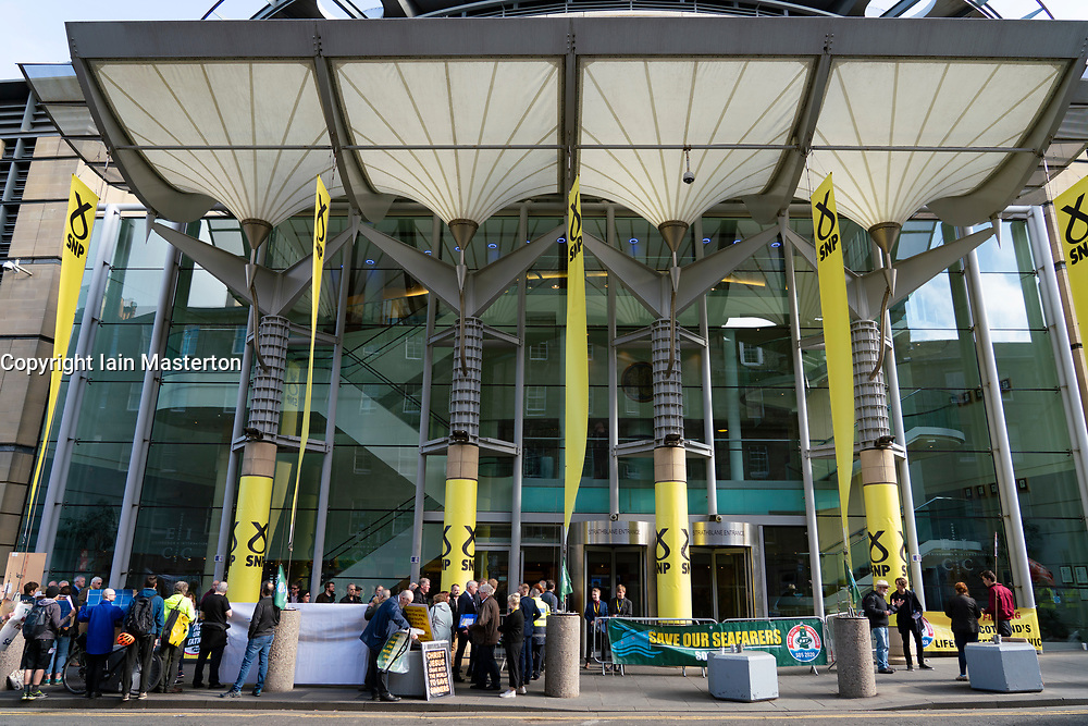 Edinburgh, Scotland, UK. 27 April, 2019. SNP ( Scottish National Party) Spring Conference takes place at the EICC ( Edinburgh International Conference Centre) in Edinburgh. General view of EICC conference venue.