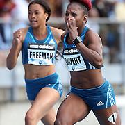 Schillonie Calvert, Jamaica, in action in  the BMW Women's 100m during the Diamond League Adidas Grand Prix at Icahn Stadium, Randall's Island, Manhattan, New York, USA. 14th June 2014. Photo Tim Clayton