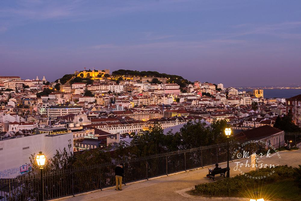 The view of Lisbon from the Miradouro de Sao Pedro de Alcantara, Lisbon, Portugal