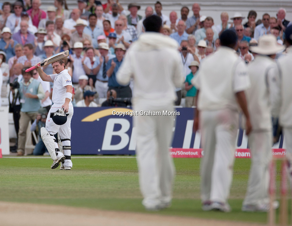 Reinstated Ian Bell (who was run out the last ball before tea) walks off after being caught for 159 in the second npower Test Match between England and India at Trent Bridge, Nottingham.  Photo: Graham Morris (Tel: +44(0)20 8969 4192 Email: sales@cricketpix.com) 31/07/11