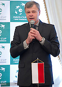 Piotr Szkielkowski - vice president of Polish Tennis Association while official draw one day before the BNP Paribas Davis Cup 2013 between Poland and South Africa at MOSiR Hall in Zielona Gora on April 04, 2013...Poland, Zielona Gora, April 04, 2013..Picture also available in RAW (NEF) or TIFF format on special request...For editorial use only. Any commercial or promotional use requires permission...Photo by © Adam Nurkiewicz / Mediasport