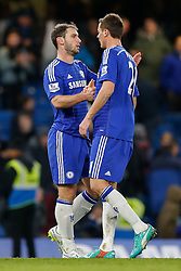 Branislav Ivanovic of Chelsea and Nemanja Matic celebrate at full time after Chelsea win 2-0 - Photo mandatory by-line: Rogan Thomson/JMP - 07966 386802 - 13/12/2014 - SPORT - FOOTBALL - London, England - Stamford Bridge - Chelsea v Hull City - Barclays Premier League.