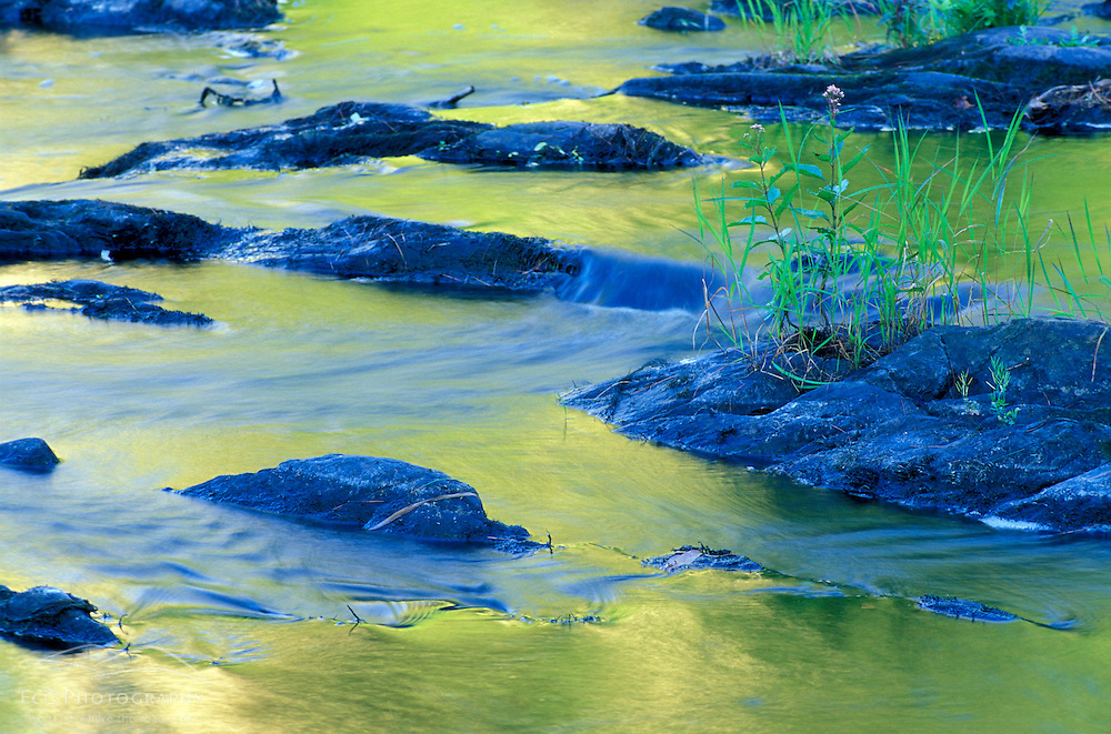 Summer reflections in the waters of the Lamprey River below Lee-Hook Road.  Lee, NH