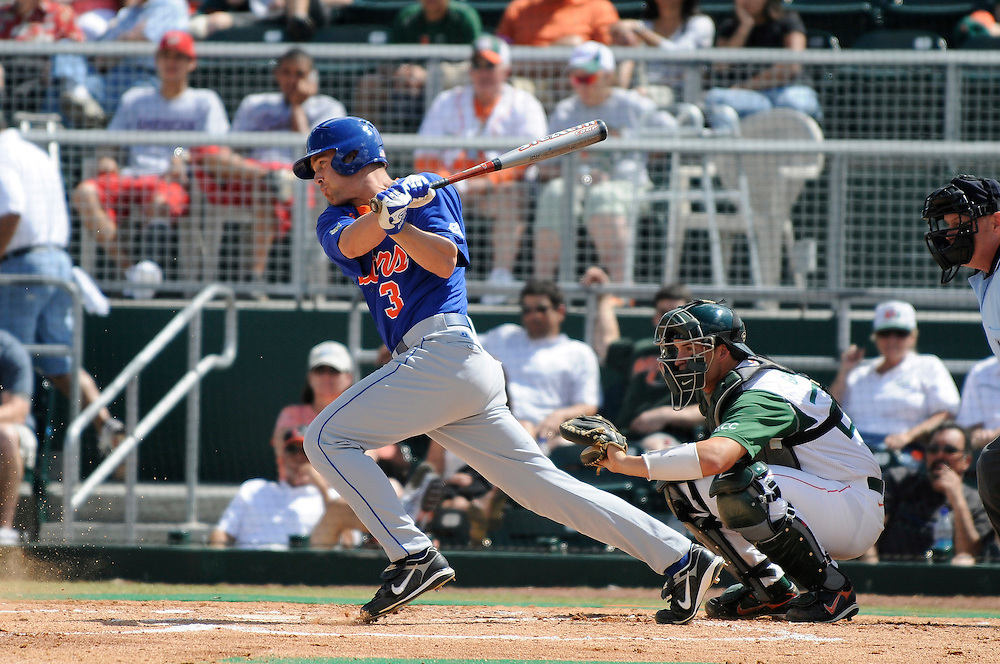 March 2, 2008 - Coral Gables, FL<br /> <br /> Brandon McArthur #3 of the Florida Gators in action during their 6-2 victory over the Miami Hurricanes at Alex Rodriguez Park in Coral Gables, Florida.<br /> <br /> JC Ridley/CSM