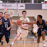 2nd year guard Benjamin Hillis (8) of the Regina Cougars during the Men's Basketball home game on January 5 at Centre for Kinesiology, Health and Sport. Credit: Arthur Ward/Arthur Images