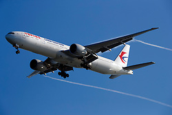 Boeing 777-39P(ER) (B-7343) operated by China Eastern Airlines on approach to San Francisco International Airport (SFO), San Francisco, California, United States of America