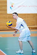 Volleyball match between SO Serbia (white-blue) and SO Poland (white-red) during of The Special Olympics Unified Volleyball Tournament at Ursynow Arena in Warsaw on August 28, 2014.<br /> <br /> Poland, Warsaw, August 28, 2014<br /> <br /> For editorial use only. Any commercial or promotional use requires permission.<br /> <br /> Mandatory credit:<br /> Photo by &copy; Adam Nurkiewicz / Mediasport