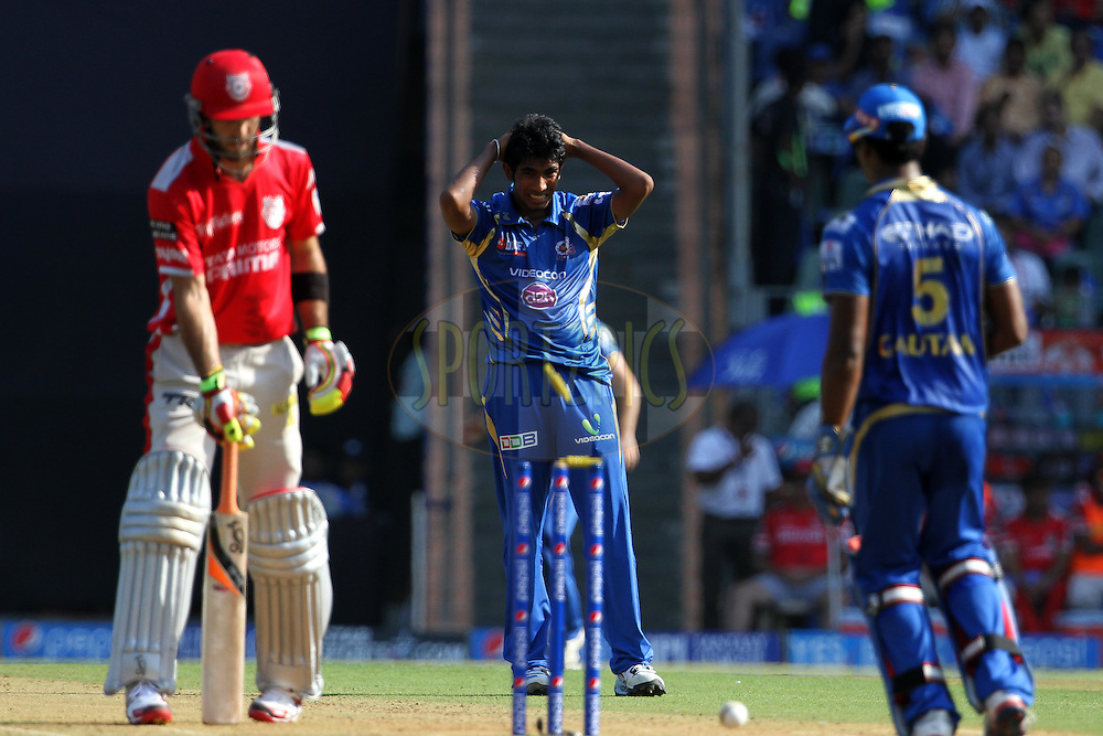 Jasprit Bumrah of the Mumbai Indians reacts during match 22 of the Pepsi Indian Premier League Season 2014 between the Mumbai Indians and the Kings XI Punjab held at the Wankhede Cricket Stadium, Mumbai, India on the 3rd May  2014<br /> <br /> Photo by Vipin Pawar / IPL / SPORTZPICS<br /> <br /> <br /> <br /> Image use subject to terms and conditions which can be found here:  http://sportzpics.photoshelter.com/gallery/Pepsi-IPL-Image-terms-and-conditions/G00004VW1IVJ.gB0/C0000TScjhBM6ikg