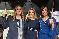 Hempstead, New York, USA. May 22, 2017. Democratic candidates for Town of Hempstead slate include (L-R) SUE MOLLER (6th D), LAURA GILLEN for Town Supervisor, and SYLVIA CABANA Hempstead Town Clerk. Press Conference was at Hempstead Town Hall front entranec steps during strong rain.
