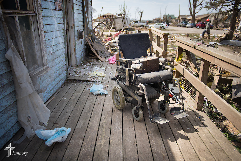 A vacant wheelchair is framed by debris on Tuesday, May 12, 2015, in Delmont, S.D. A tornado swept through the area on Sunday and destroyed nearby Zion Lutheran Church and surrounding buildings. LCMS Communications/Erik M. Lunsford