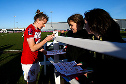 Frankie Brown of Bristol City signs autographs for fans - Mandatory by-line: Robbie Stephenson/JMP - 24/03/2019 - FOOTBALL - Stoke Gifford Stadium - Bristol, England - Bristol City Women v Everton Ladies - FA Women's Super League