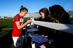 Frankie Brown of Bristol City signs autographs for fans - Mandatory by-line: Robbie Stephenson/JMP - 24/03/2019 - FOOTBALL - Stoke Gifford Stadium - Bristol, England - Bristol City Women v Everton Ladies - FA Women's Super League