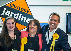 Pictured: Mhairi Jardine congratulates her mother Christine Jardine and Alex Cole Hamilton<br /> The Edinburgh Count and  announcements ended  around 4:30 this morning with weary heads around all parties.<br /> <br /> Ger Harley | EEm 9 June 2017