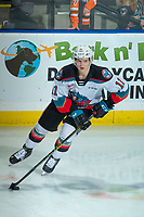 KELOWNA, BC - DECEMBER 30: Pavel Novak #11 of the Kelowna Rockets warms up on the ice with the puck against the Prince George Cougars at Prospera Place on December 30, 2019 in Kelowna, Canada. (Photo by Marissa Baecker/Shoot the Breeze)