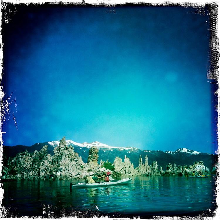 Canoeists Paddle Mono Lake