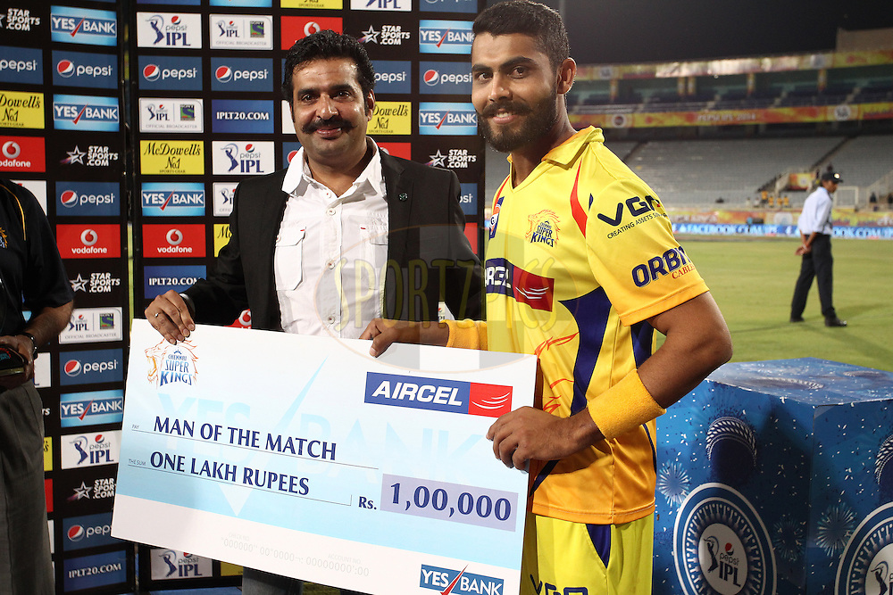 Mr Arvind Singh Shekhawat of Aircel presents Ravindra Jadeja of The Chennai Super Kings the Aircel Man of the Match Award during match 21 of the Pepsi Indian Premier League Season 2014 between the Chennai Superkings and the Kolkata Knight Riders  held at the JSCA International Cricket Stadium, Ranch, India on the 2nd May  2014<br /> <br /> Photo by Shaun Roy / IPL / SPORTZPICS<br /> <br /> <br /> <br /> Image use subject to terms and conditions which can be found here:  http://sportzpics.photoshelter.com/gallery/Pepsi-IPL-Image-terms-and-conditions/G00004VW1IVJ.gB0/C0000TScjhBM6ikg