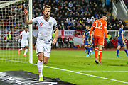 Goal England forward Harry Kane scores a goal and celebrates 0-2 during the UEFA European 2020 Qualifier match between Kosovo and England at the Fadil Vokrri Stadium, Pristina, Kosovo on 17 November 2019.