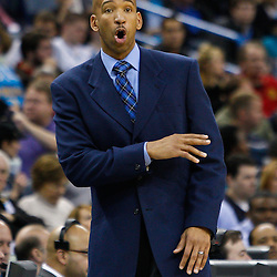 February 1, 2011; New Orleans, LA, USA; New Orleans Hornets head coach Monty Williams against the Washington Wizards during the second half at the New Orleans Arena. The Hornets defeated the Wizards 97-89.  Mandatory Credit: Derick E. Hingle
