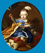 Prince Joseph (1741-1790), the future Emperor Joseph II of Germany and Austria. Son Francis I and Maria Theresa. He is shown holding the Order of the Golden Fleece. Portrait by circle of Martin Mytens II (1695-1770).