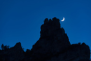 The crescent moon glowed brighter after the sun set. By walking up the canyon a bit I was able to line it up behind this cliff.