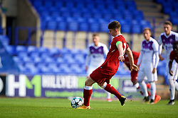 BIRKENHEAD, ENGLAND - Wednesday, November 1, 2017: Liverpool's Ben Woodburn scores the second goal from a penalty kick during the UEFA Youth League Group E match between Liverpool and NK Maribor at Prenton Park. (Pic by David Rawcliffe/Propaganda)