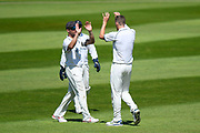 Grant Thornton of Warwickshire celebrates taking the wicket of Marcus Trescothick of Somerset during the Specsavers County Champ Div 1 match between Somerset County Cricket Club and Warwickshire County Cricket Club at the Cooper Associates County Ground, Taunton, United Kingdom on 22 May 2017. Photo by Graham Hunt.